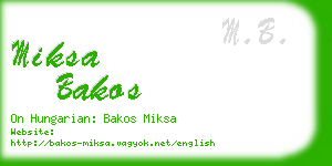 miksa bakos business card